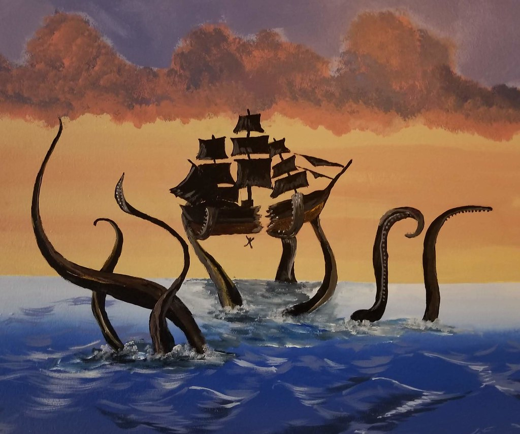 Kraken and ship